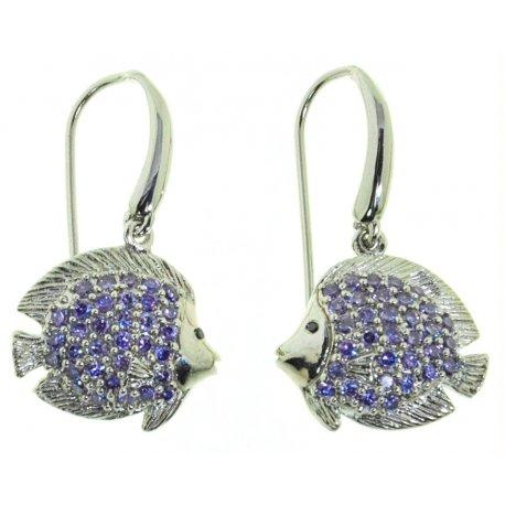 Серьги женские серебряные 925* родий цирконий Арт 11 3595