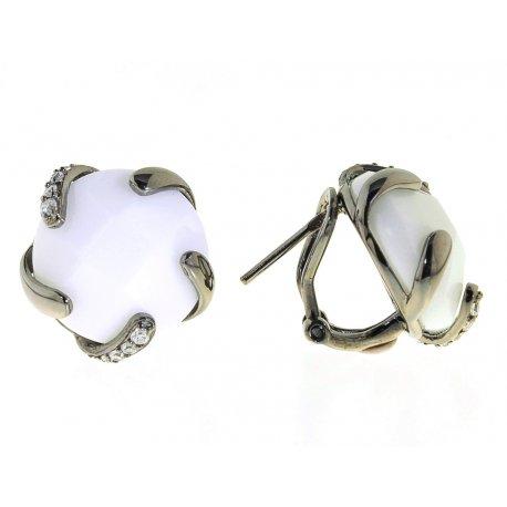 Серьги женские серебряные 925* чернение синт. агат Арт 11 4500А