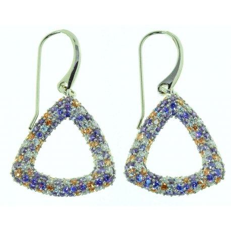 Серьги женские серебряные 925* родий цирконий Арт 11 4397
