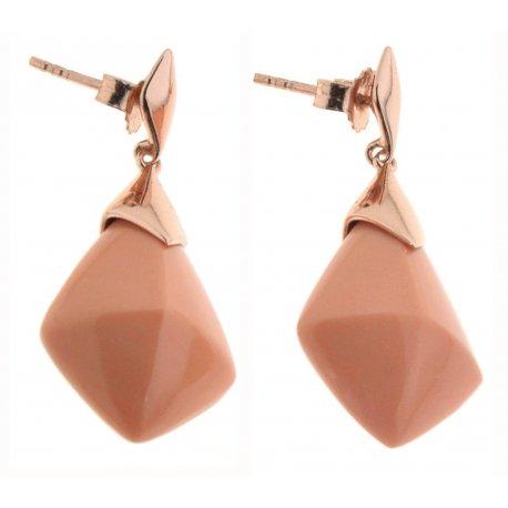 Серьги женские серебряные 925* позолота коралл Арт 51 5465Х