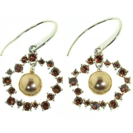 Сережки жіночі срібні 925* родій цирконій синтетич. перли Арт 11 2 3816-13б