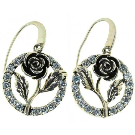 Серьги женские серебряные 925* чернение цирконий Арт 11 2 3872-80