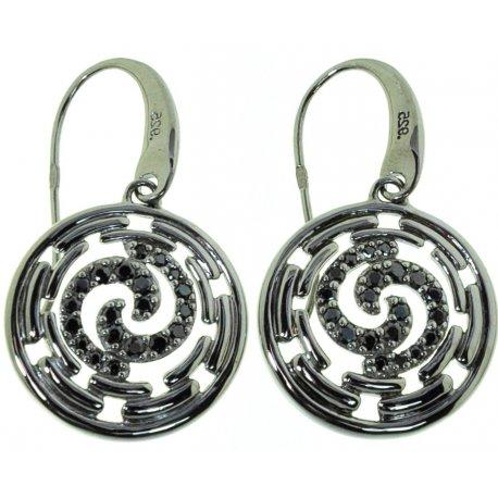 Серьги женские серебряные 925* чернение цирконий Арт 11 2 4592