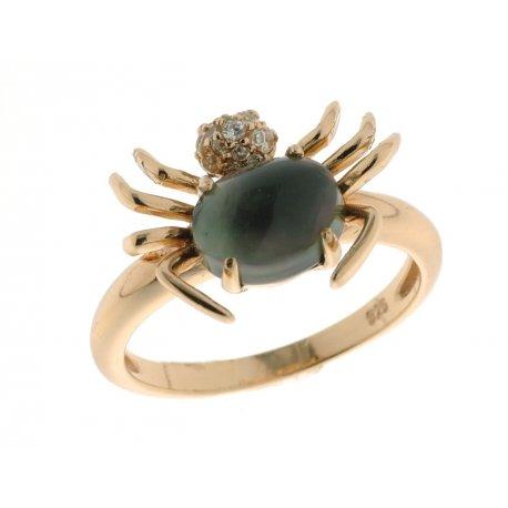 Кольцо женское серебряное 925* позолота лабрадорит циркон Арт 55 5219
