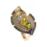 Кольцо женское серебряное 925* позолота перидот циркон Арт 55 5617