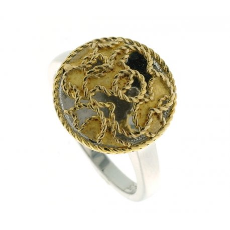 Кольцо женское серебряное 925* родий позолота Арт15 3 49030