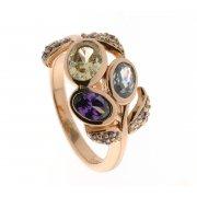 Кольцо женское серебряное 925* позолота цирконий Арт 55 5606