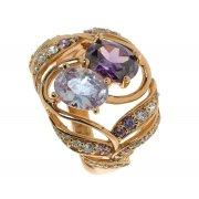 Кольцо женское серебряное 925* позолота цирконий Арт 55 5607