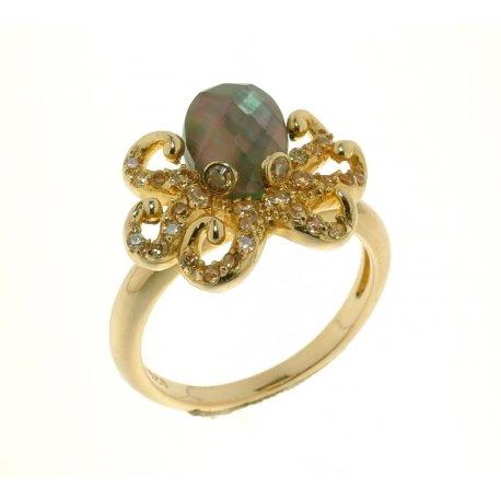 Кольцо женское серебряное 925* позолота лабрадорит циркон Арт 55 5221