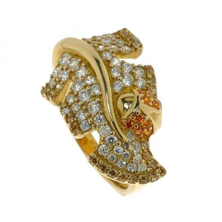Кольцо женское серебряное 925* позолота цирконий Арт 55 5569