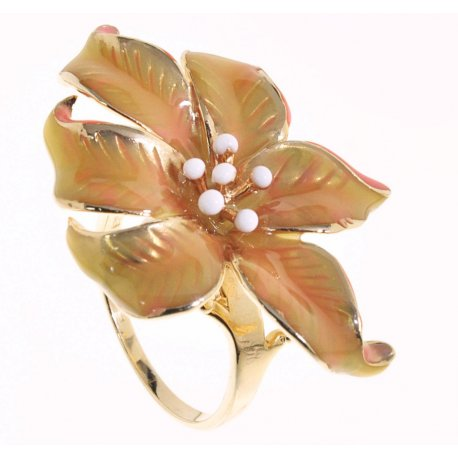Кольцо женское серебряное 925* позолота цветная эмаль Арт 55 5749