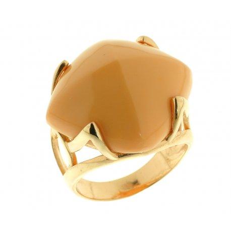 Кольцо женское серебряное 925* позолота коралл Арт 55 5672Х