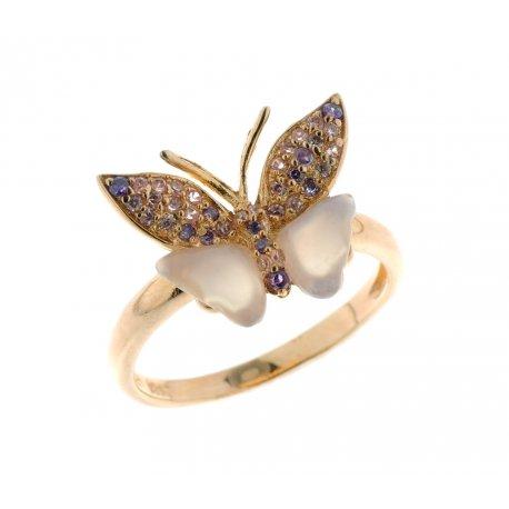 Кольцо женское серебряное 925* позолота халцедон циркон Арт 55 5205