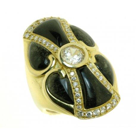 Кольцо женское серебряное 925* позолота обсидиан циркон Арт 55 5362