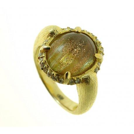 Кольцо женское серебряное 925* позолота цирконий кварц Арт 55 4080