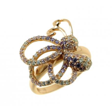 Кольцо женское серебряное 925* позолота цирконий Арт 55 5765Х