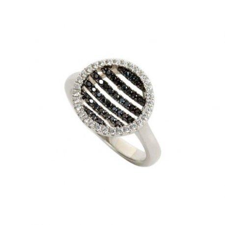 Кольцо женское серебряное 925* родий цирконий Арт 155 312