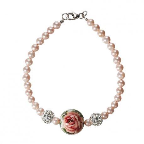 Браслет женский серебряный 925* жемчуг кристаллы эмаль Арт 141 02
