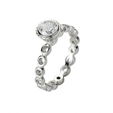 Каблучка жіноча срібна 925* родій цирконій Арт 223 030