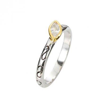 Кольцо женское серебряное 925* родий цирконий Арт 223 056б