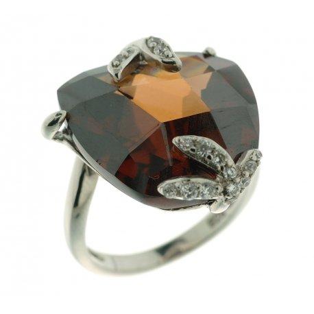 Кольцо женское серебряное 925* родий цирконий Арт 15 2838В