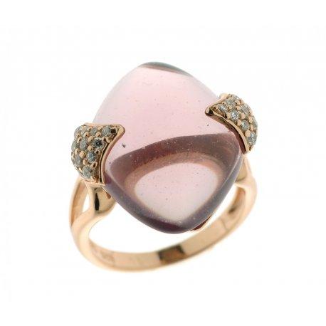 Кольцо женское серебряное 925* позолота кристалл циркон Арт 55 5626