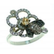 Кольцо женское серебряное 925* родий цирконий Арт 15 5572