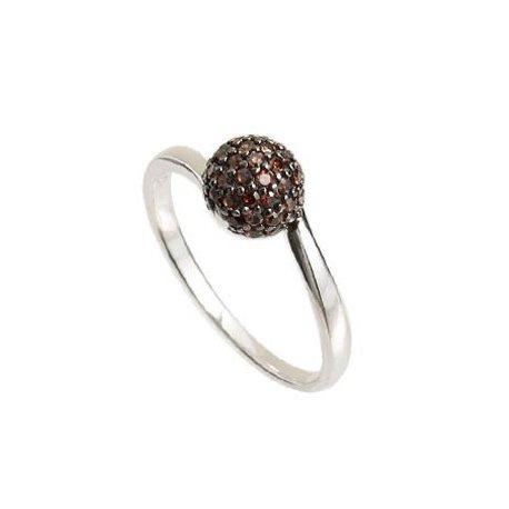Кольцо женское серебряное 925* родий цирконий Арт 155 0021к
