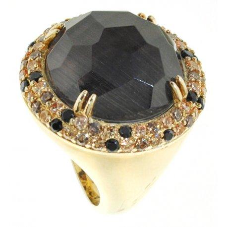 Кольцо женское серебряное 925* позолота кошачий глаз цирконий Арт55 2581А