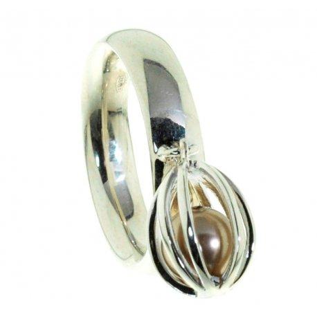 Кольцо женское серебряное 925* родий синт. жемчуг Арт 15 2 3058