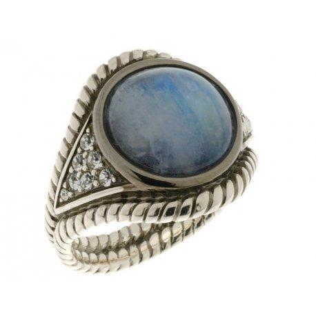 Кольцо женское серебряное 925* чернение лунный камень цирконий Арт 15 2 3551-56