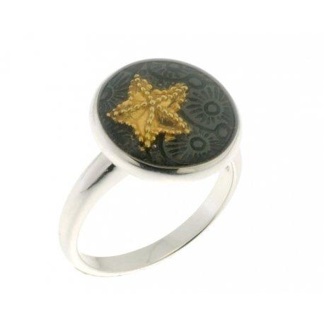 Кольцо женское серебряное 925* позолота родий эмаль Арт 15 2 4065