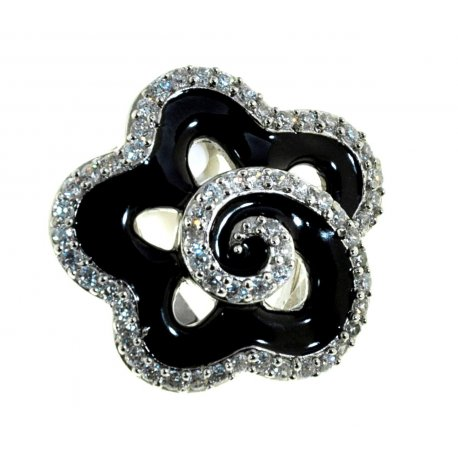 Кольцо женское серебряное 925* родий цирконий эмаль Арт 15 2361А