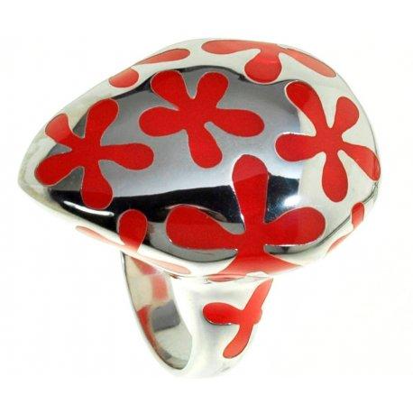Кольцо женское серебряное 925* родий красная эмаль Арт 15 2615