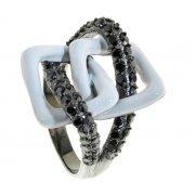 Кольцо женское серебряное 925* чернение цирконий эмаль Арт 15 2299А