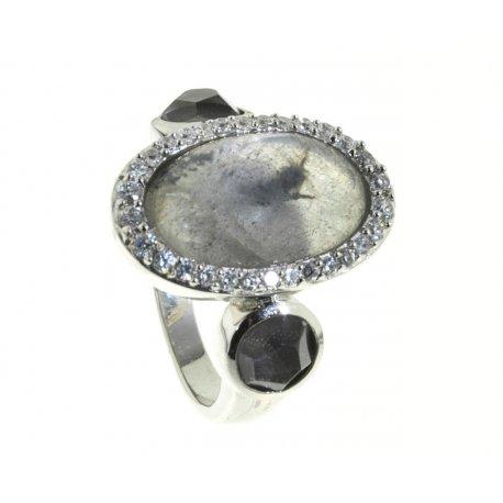 Кольцо женское серебряное 925* лабрадорит циркон кварц Арт 15 5310А