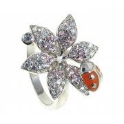 Кольцо женское серебряное 925* родий цирконий эмаль Арт 15 5567