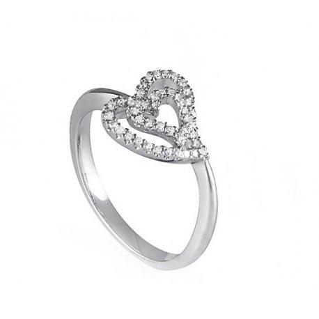Кольцо женское серебряное 925* родий цирконий Арт 155 005