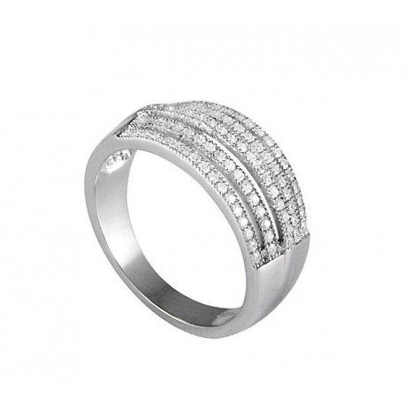Кольцо женское серебряное 925* родий цирконий Арт 155 008