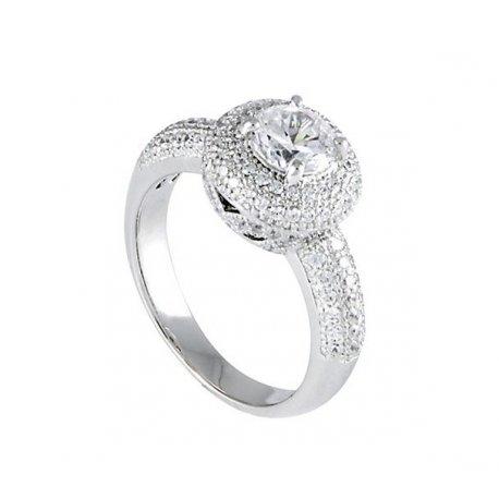 Кольцо женское серебряное 925* родий цирконий Арт 155 011
