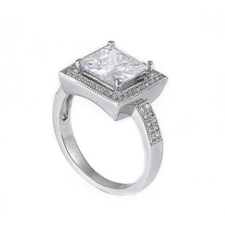 Кольцо женское серебряное 925* родий цирконий Арт 155 013