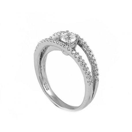 Кольцо женское серебряное 925* родий цирконий Арт 155 017