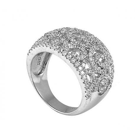 Кольцо женское серебряное 925* родий цирконий Арт 155 048