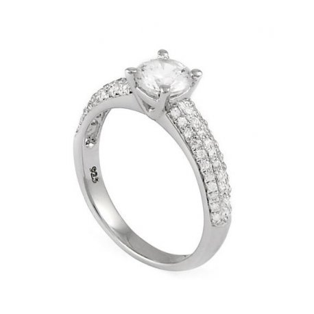 Кольцо женское серебряное 925* родий цирконий Арт 155 057