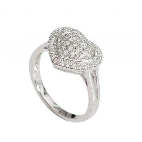 Кольцо женское серебряное 925* родий цирконий Арт 155 254