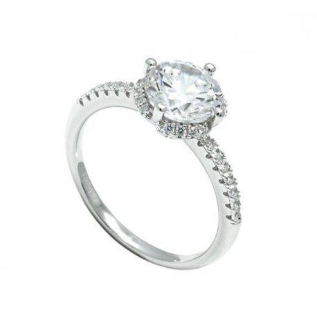 Кольцо женское серебряное 925* родий цирконий Арт 155 282
