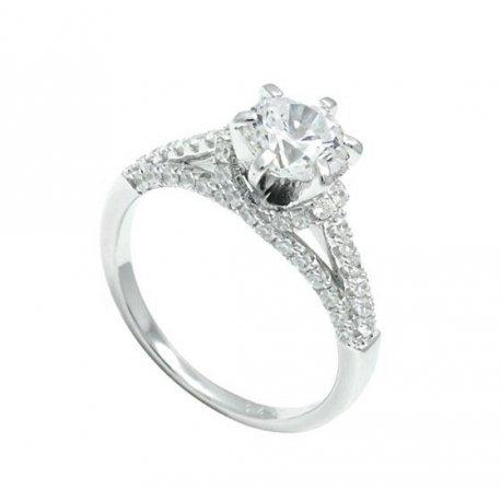 Кольцо женское серебряное 925* родий цирконий Арт 155 283