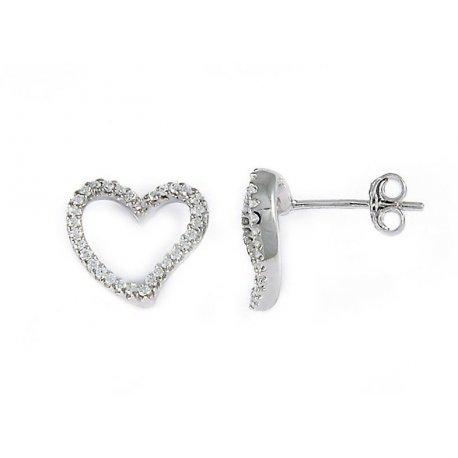 Серьги женские серебряные 925* родий цирконий Арт 115 002