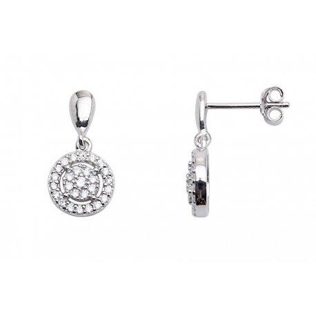 Серьги женские серебряные 925* родий цирконий Арт 115 0048
