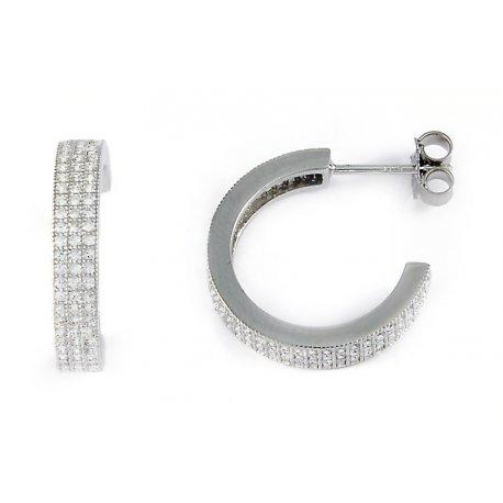 Серьги женские серебряные 925* родий цирконий Арт 115 006